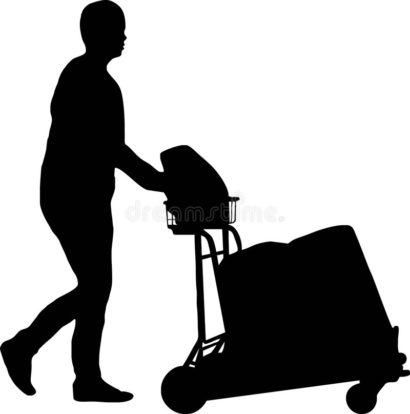 Download Man with trolley stock vector. Image of carry, corporate - 5473278