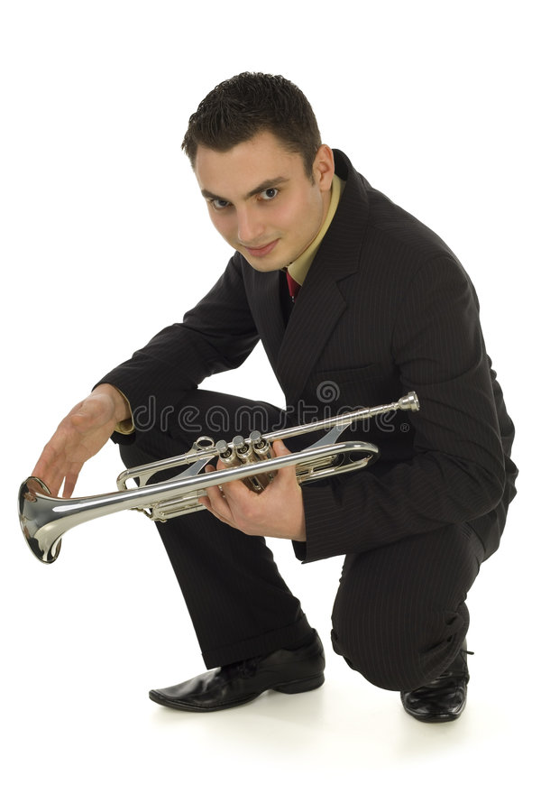 Download Man with a trumpet stock image. Image of human, handsome - 4314755