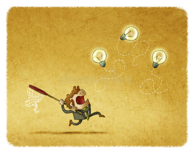 Man trying to catch flying bulbs. Businessman running with net while trying to catch idea bulbs royalty free illustration