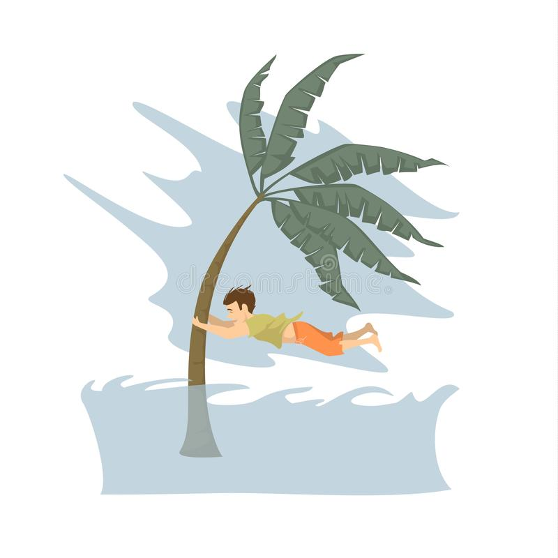 Man trying to save life during tsunami graphic, natural disasters concept vector illustration