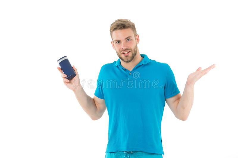 Man with tube of hair shampoo. Bearded man with hair grooming product. Hygienic care. Hair care line. Regular grooming. Will keep your hair healthy and clean royalty free stock photos