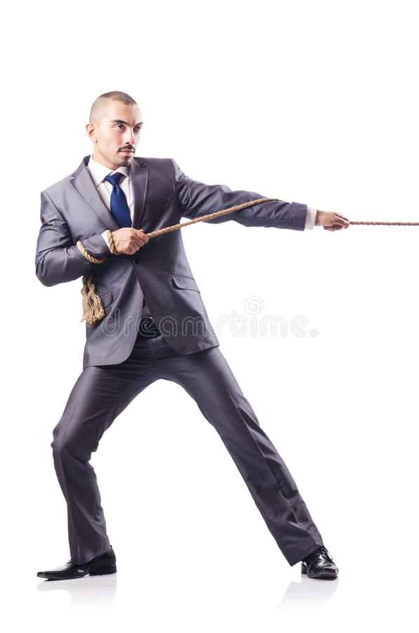 Download Man in tug of war concept stock image. Image of out, person - 28351195