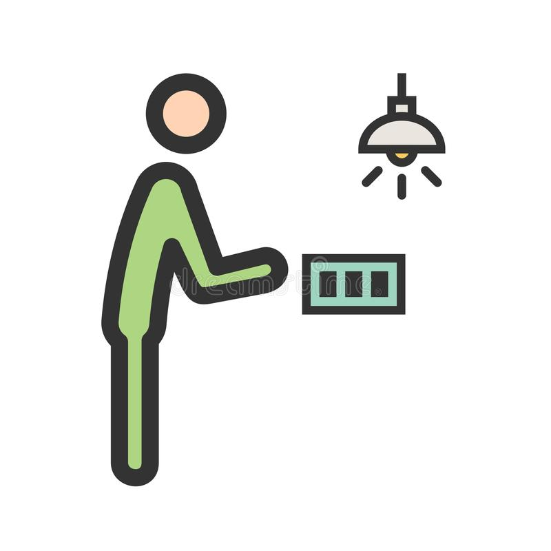 Download Man Turning Light On Stock Vector Image Of Switch Electricity