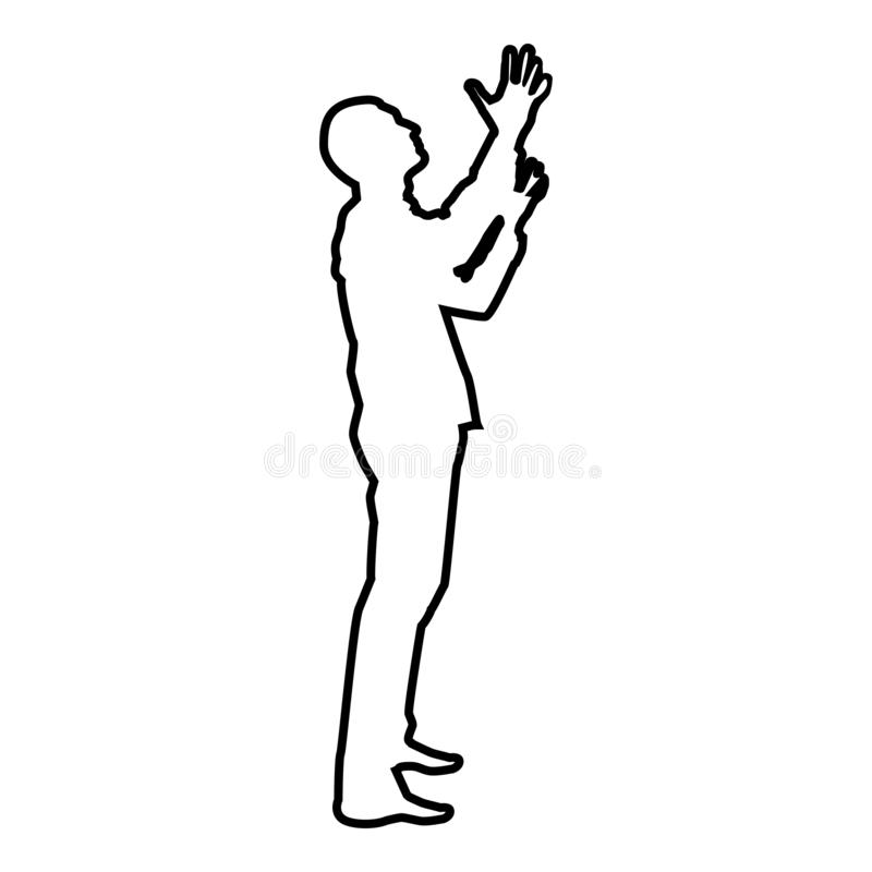 Man is turning to heaven Man up arm Appeal to god Pray concept silhouette icon black color illustration outline. Man is turning to heaven Man up arm Appeal to royalty free illustration