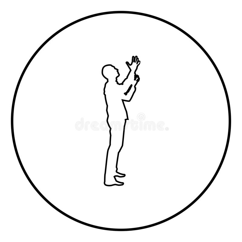 Man is turning to heaven Man up arm Appeal to god Pray concept silhouette icon black color illustration in circle round. Man is turning to heaven Man up arm vector illustration