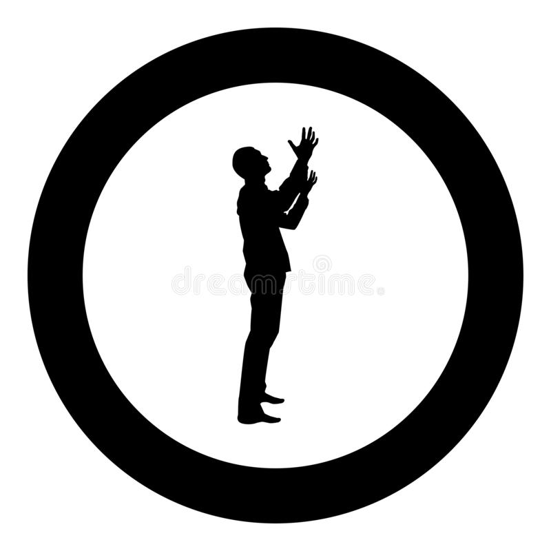 Man is turning to heaven Man up arm Appeal to god Pray concept silhouette icon black color illustration in circle round. Man is turning to heaven Man up arm stock illustration