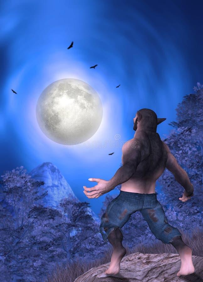 Man Turning Into Werewolf Full Moon Illustration stock photos