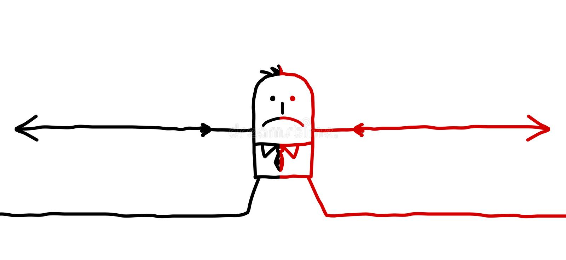 Man & två motsatta riktningar stock illustrationer