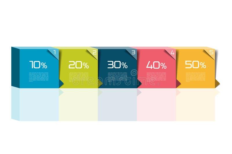 Man två, tre, fyra, fem kliver mallen Steg-för-steg infographic askar med nummer och text kan användas för workfloworientering, D royaltyfri illustrationer