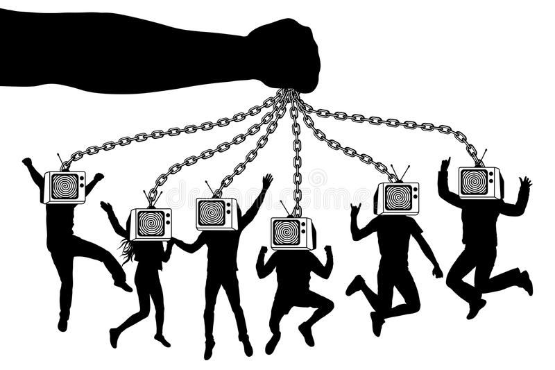 Man of TV. The hand holds a zombie crowd of people with television. royalty free illustration