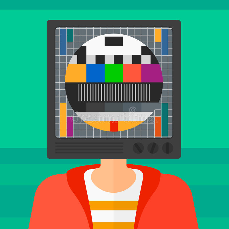 Man with TV head. A man with TV set instead of head vector flat design illustration isolated on light green background. Square layout royalty free illustration
