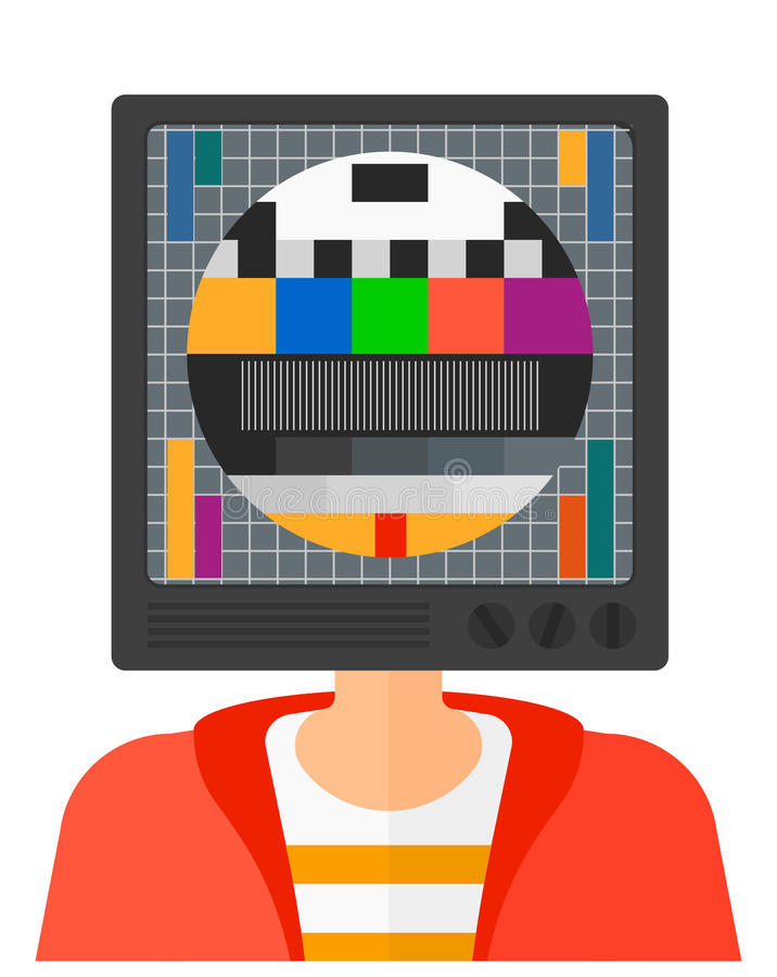 Man with TV head royalty free illustration