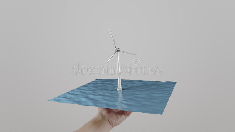 Man twists in hand wind turbine located on water like a tray. Light gray background. Alternative ecologic power royalty free stock image