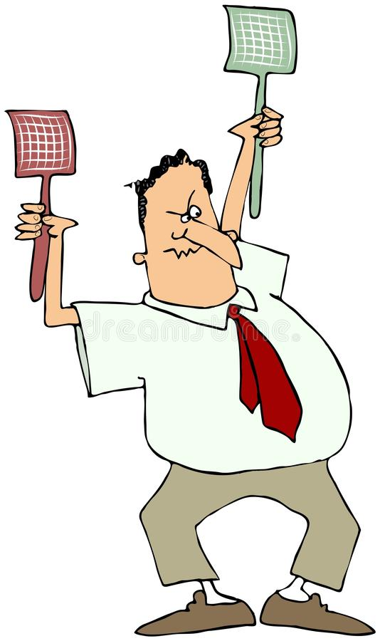Man With Two Fly Swatters royalty free illustration