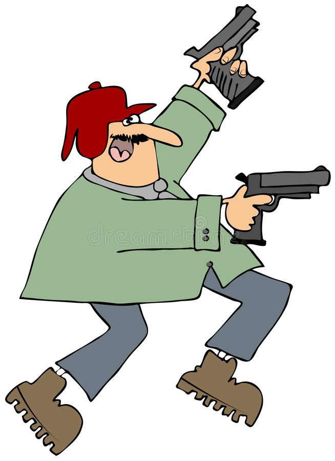 Download Man with two pistols stock illustration. Image of illustration - 29124380