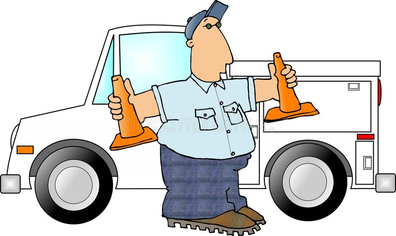 Man with two safety cones royalty free illustration