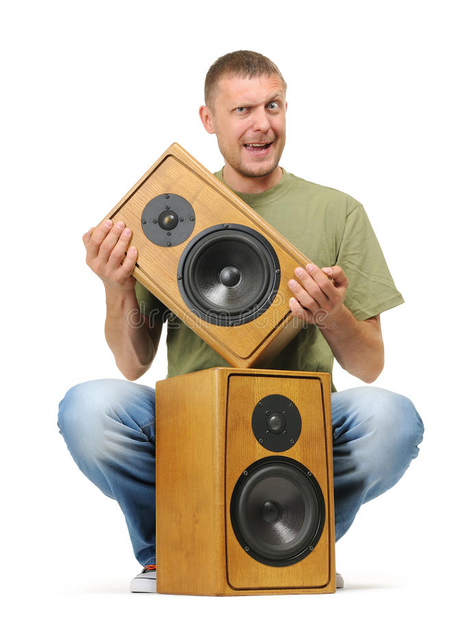 Man With Two Wooden Speaker On White Stock Photo