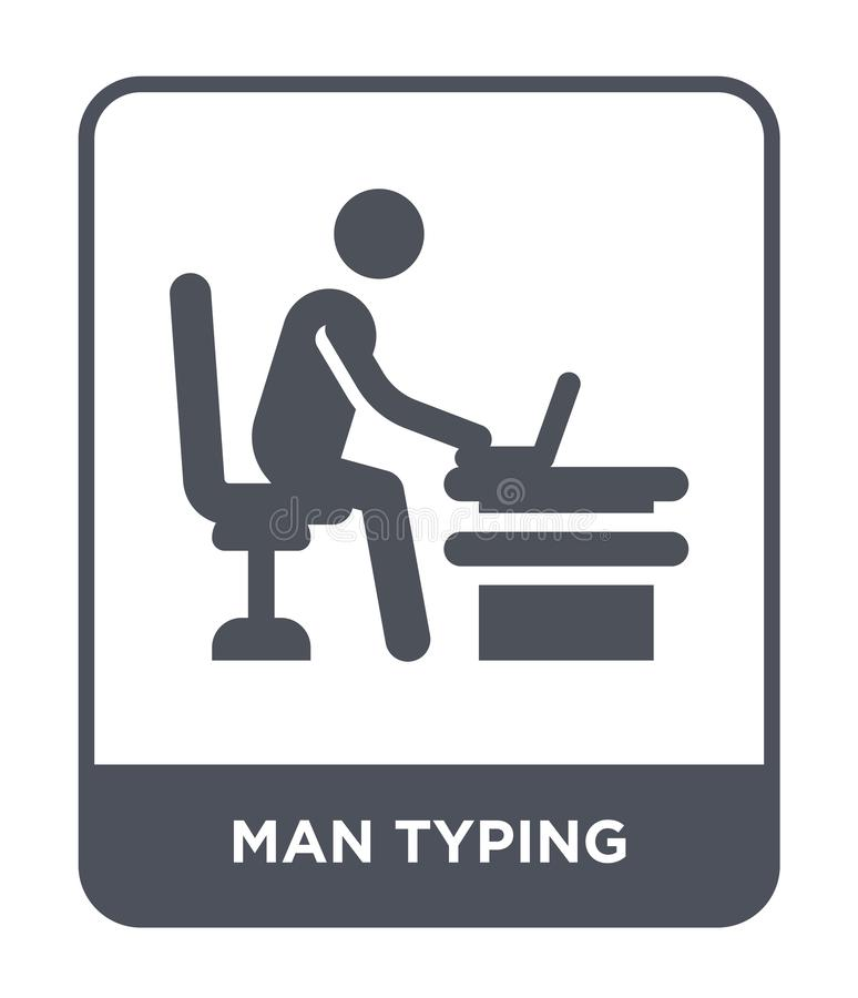 Man typing icon in trendy design style. man typing icon isolated on white background. man typing vector icon simple and modern. Flat symbol for web site, mobile royalty free illustration