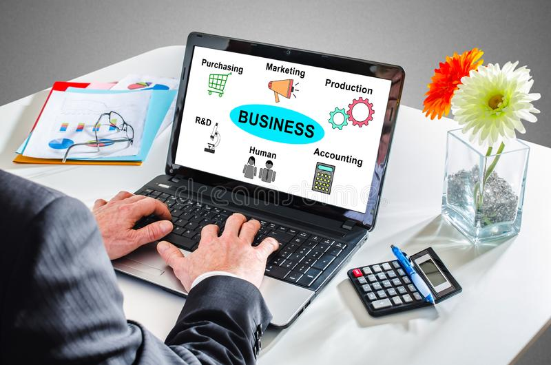 Business structure concept on a laptop screen royalty free stock images
