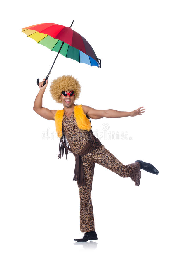 Man with umbrella isolated royalty free stock photography