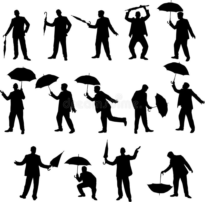 Man and umbrella silhouettes royalty free stock photo