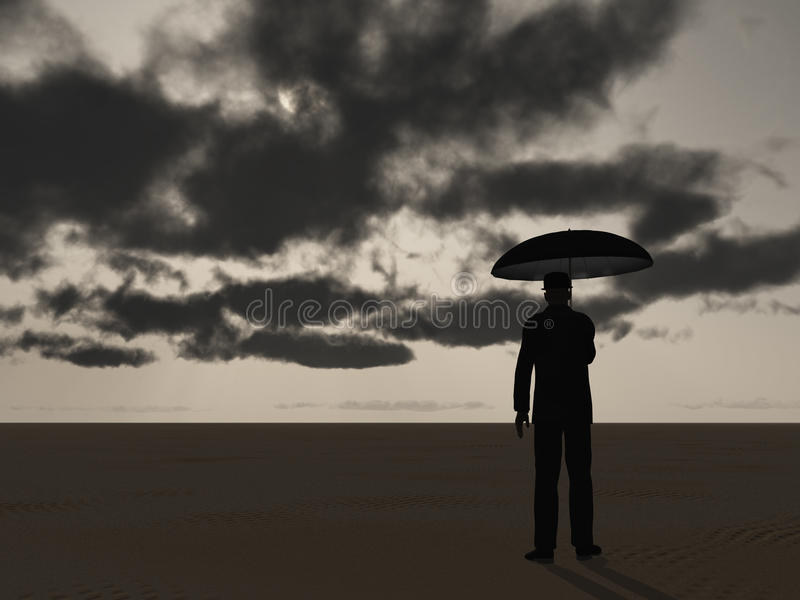 Download Man with Umbrella stock illustration. Illustration of cloudy - 39509720