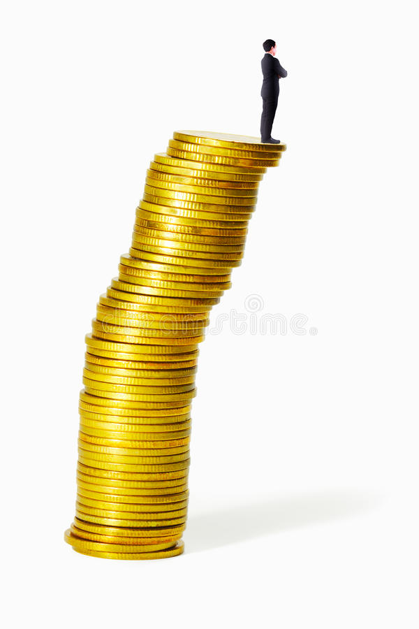 Man On Uncertainty Coin Shape Stock Image
