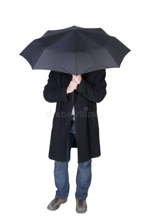 Man Under A Black Umbrella Stock Images
