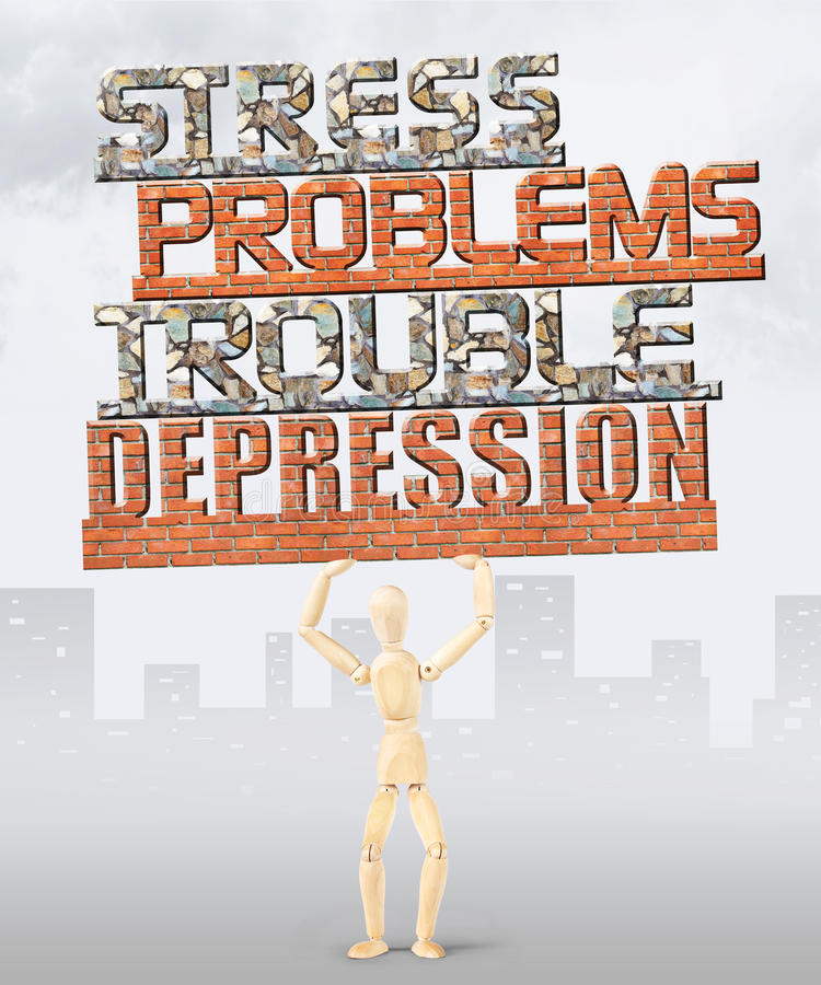 Man under pressure of many troubles and problems. Conceptual image with a wooden puppet stock image