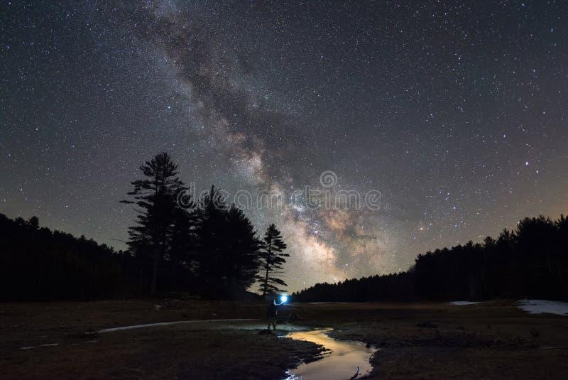 Man undersökning av en liten ström under stjärnorna royaltyfri fotografi