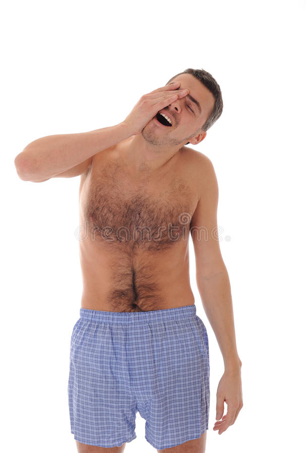 Man In Underware Waking Up In The Morning Royalty Free Stock Image
