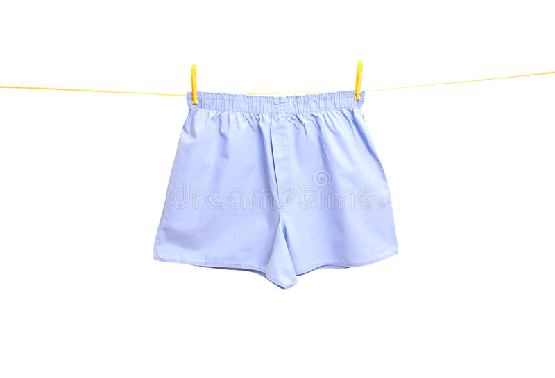 Man underwear on clothes line stock photo