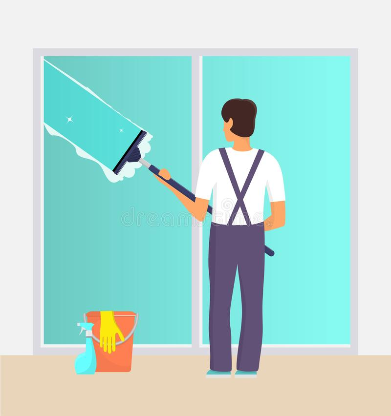 Man in uniform cleaning window with glass scraper and washing spray. Window washer with squeegee. Housekeeping service, office vector illustration
