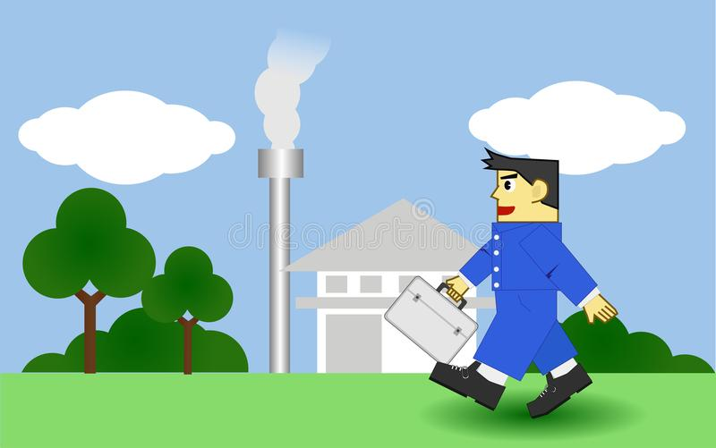 Man with uniform go to walk work every day. Man square style use company uniform and bag walking to work every day with nature tree and company Petrochemical vector illustration