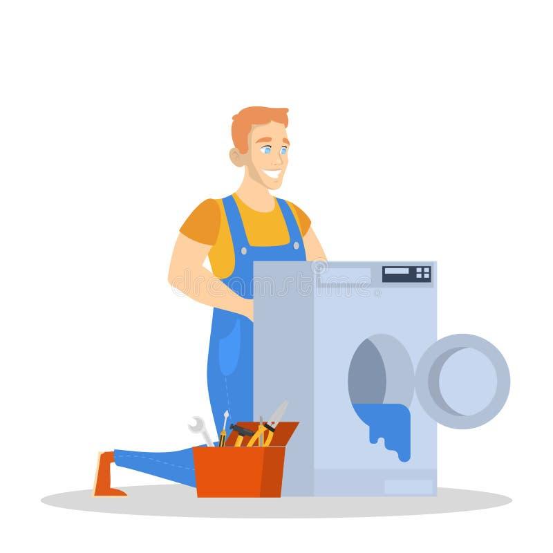 Man in the uniform repair washing machine. royalty free illustration