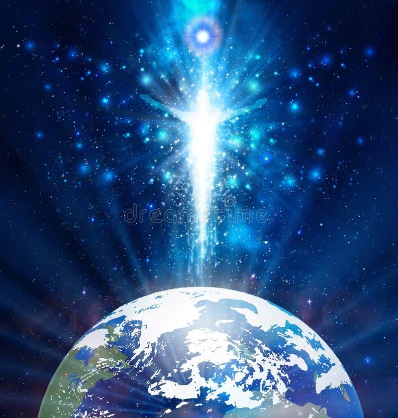 Free Man Universe, Blue Light, Meditation, Spiritual Healing, Human Body Energy, Astral Projection, Travel Royalty Free Stock Image - 202914276