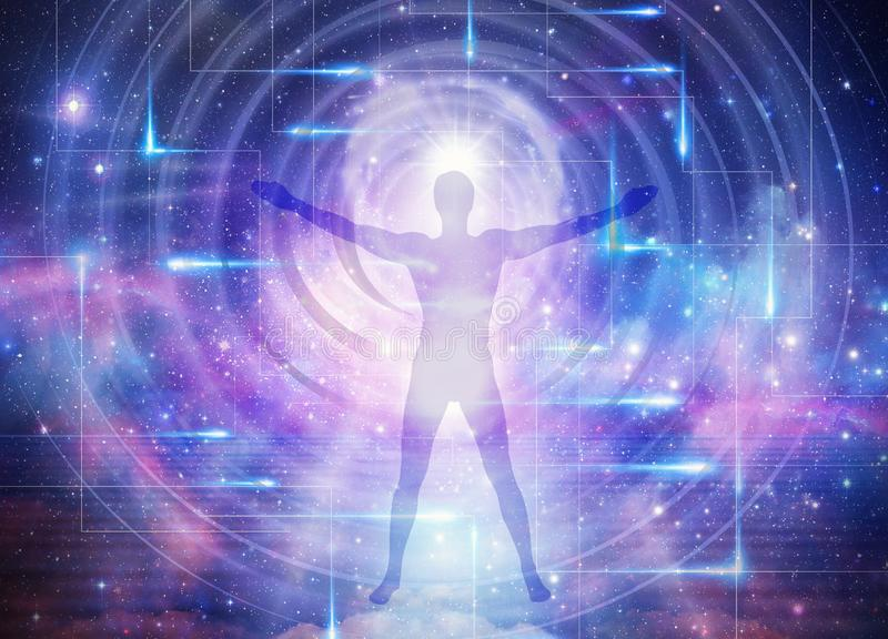 Man universe, meditation, healing, human body energy beams. Man silhouette practicing meditation, contemplating to the universe, cosmic connection, colorful stock photo