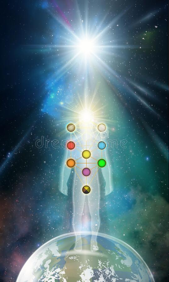 Man universe, meditation, healing, human body energy, Kabbalah tree of life. Man light silhouette practicing meditation, contemplating to the universe, cosmic vector illustration