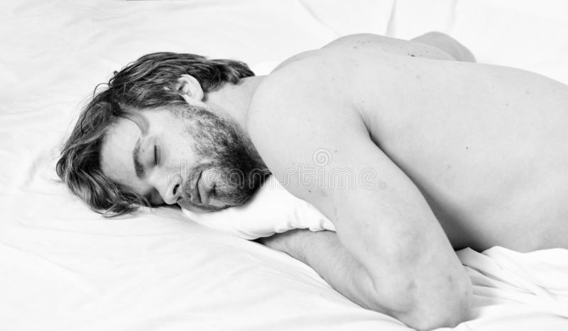 Man unshaven bearded face sleep bed. Time for nap. Sleep and relax concept. Man handsome guy sleep. Sleep is vital to stock images
