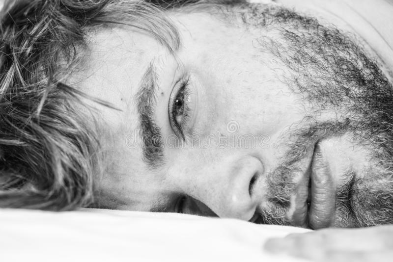 Man unshaven bearded face sleep relax or just wake up. Guy bearded macho relax in morning. Man attractive macho relax. And feel comfortable. Simple tips to royalty free stock photos