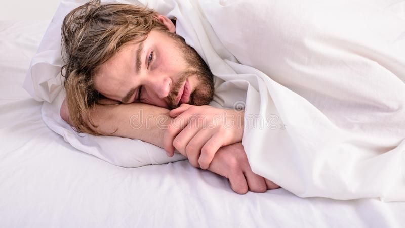 Man unshaven handsome relaxing bed. Man sleepy drowsy unshaven bearded face covered with blanket having rest. Guy lay stock photos