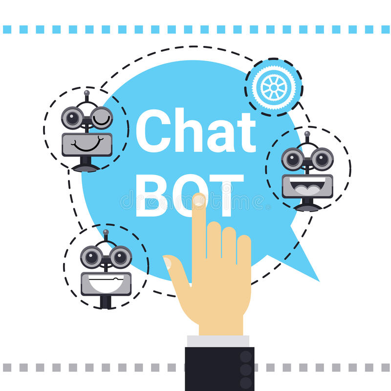 Man Use Free Chat Bot, Robot Virtual Assistance Element Of Website Or Mobile Applications, Artificial Intelligence. Concept Vector Illustration royalty free illustration