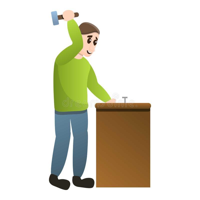 Man use hammer icon, cartoon style vector illustration