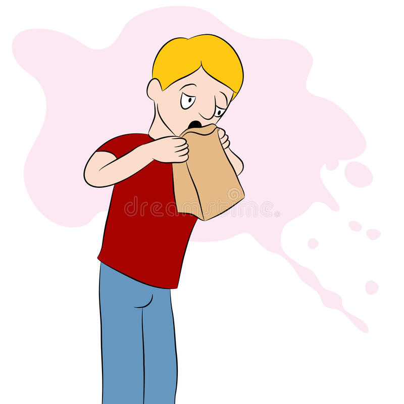 Man Using a Barf Bag. An image of a man using a barf bag royalty free illustration
