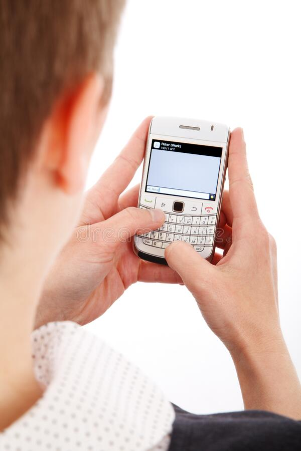 Man using Blackberry royalty free stock photography