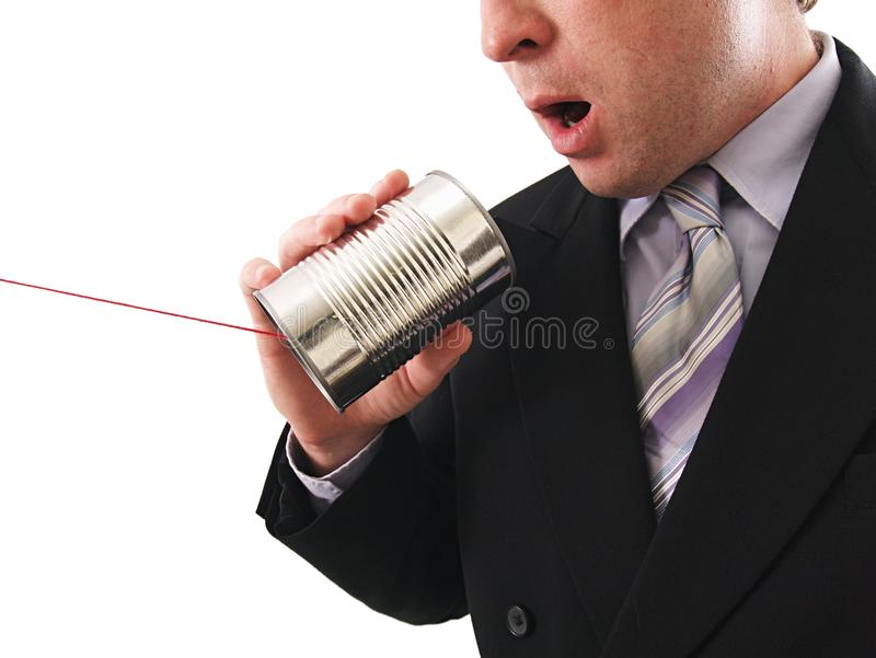 Man using a Can Phone royalty free stock photography