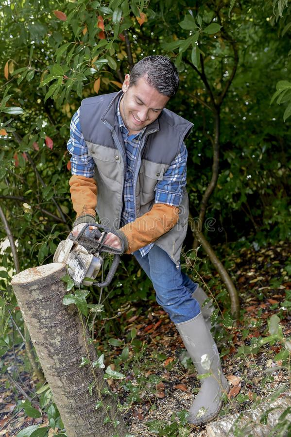 Man using a chainsaw. Active stock photo