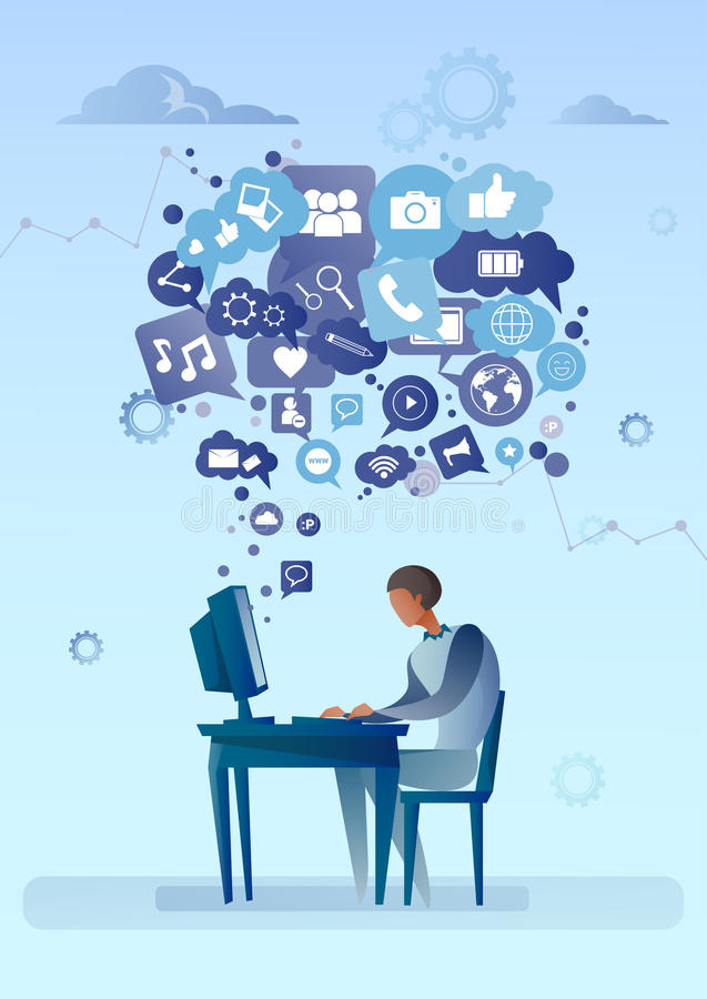 Man Using Computer With Chat Bubble Of Social Media Icons Network Communication Concept. Vector Illustration vector illustration