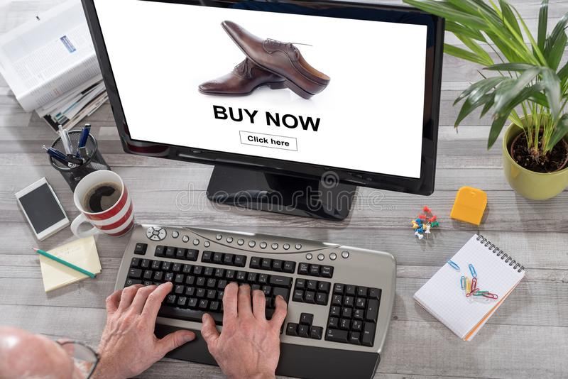 Online shopping concept on a computer stock images