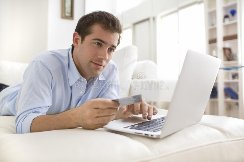 Download Man Using Credit Card And Laptop, Shopping Online Stock Photo - Image: 33172396
